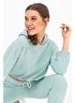 Tiffany&Tomato Kapüşonlu Taşlı Beli Lastikli Crop Sweatshirt - Vizon Mavi